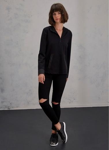 Pi π Fermuar Detaylı Sweatshirt Siyah